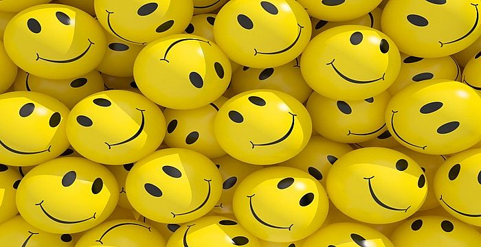Smileys background. 3d rendered illustration.